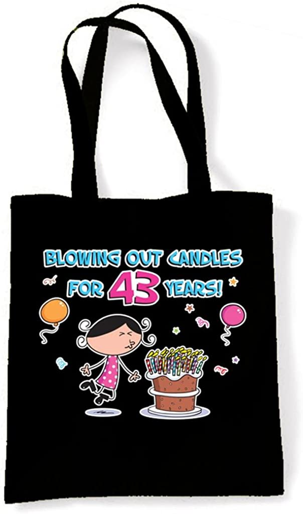 Tribal T-Shirts Womens Blowing Out Candles for 43 Years 43rd Birthday Tote Shoulder Bag