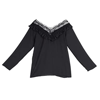 TOOGOO Moda De Mujer Blusa De Costura De Encaje De Color Sólido De ...