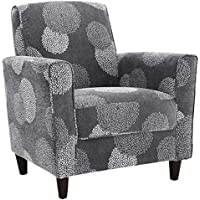 Sturdy, Durable and Comfortable DHI Enzo Sunflower Contemporary Style Accent Arm Chair with removable Seat Cushion (Charcoal)