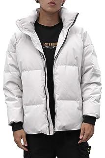 5f1f53b50f2e Herren Winter Kurze Daunen Jacke Mantel Warm mit Steh Kragen Fleece  Gefüttert Funktions Daunenmantel Parka Gesteppt