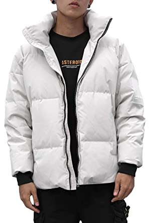 73b82458046e Harrms Men's Short Down Jacket Thickened Puffer Jacket Coats Quilted Padded  Outwear with Hood Collar Winter Coats for Men for Outdoor Sport,Black/Beige/  ...