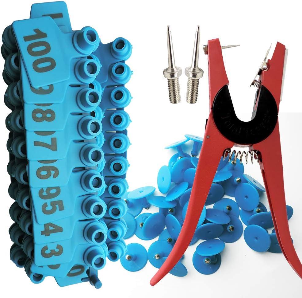 Lucky Farm Pig Ear Tags with 001-100 Ear Tagger Plier Multifunction Marker Applicator Blue