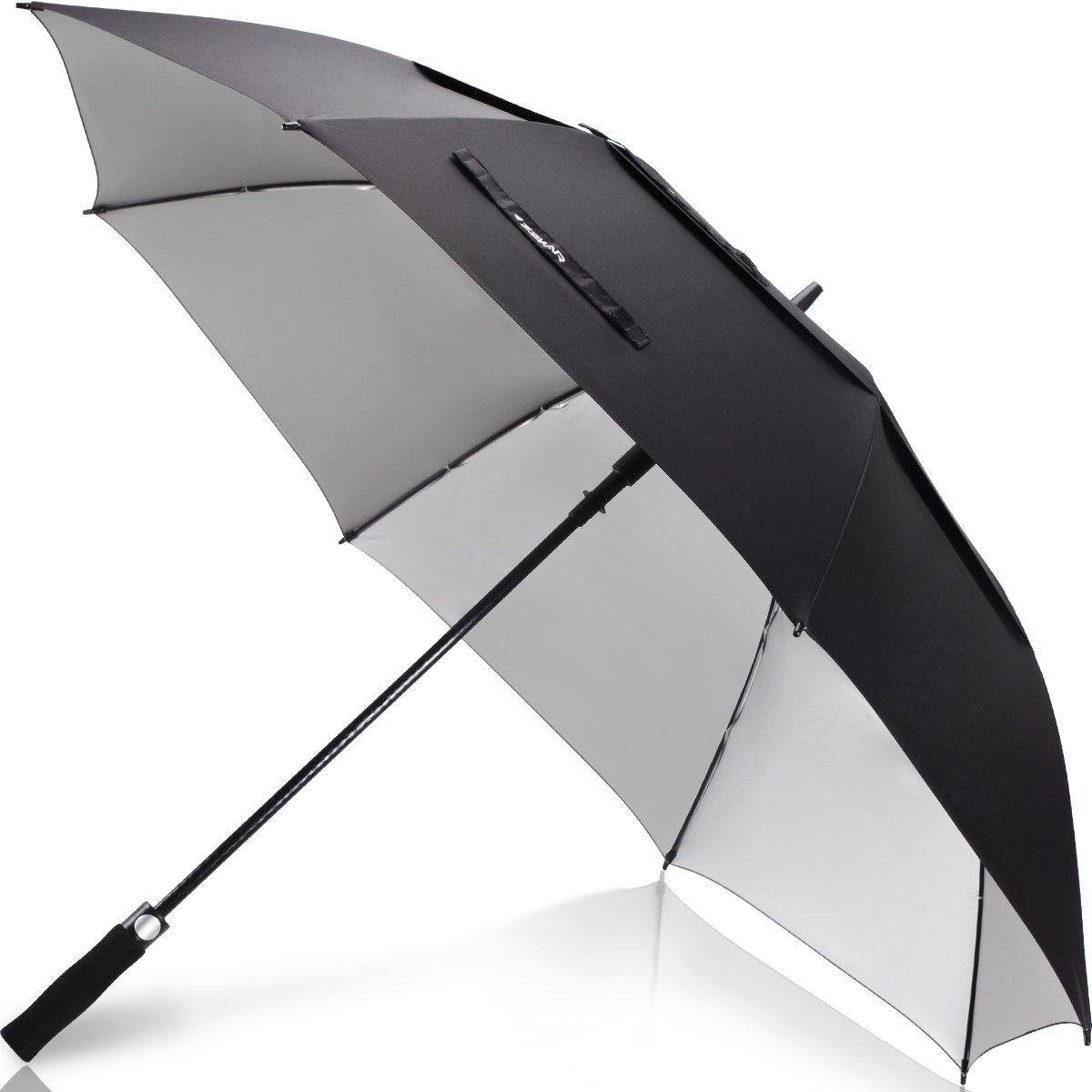 ZEKAR 54/62/68 inch UV Protection Windproof Large Golf Umbrella, Vented Sun Rain Beach Umbrella, Include Classic Version (62'' Black-UVprotection)