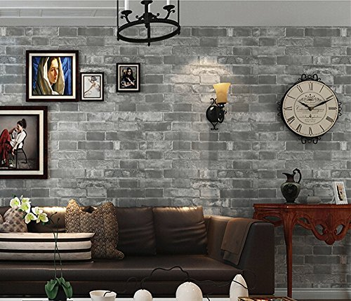 Blooming Wall: Vintage Faux Cultural Gray Brick Pattern Wallpaper,, 20.8 In32.8 Ft=57 Sq ft Per Roll,Looks Real Up!