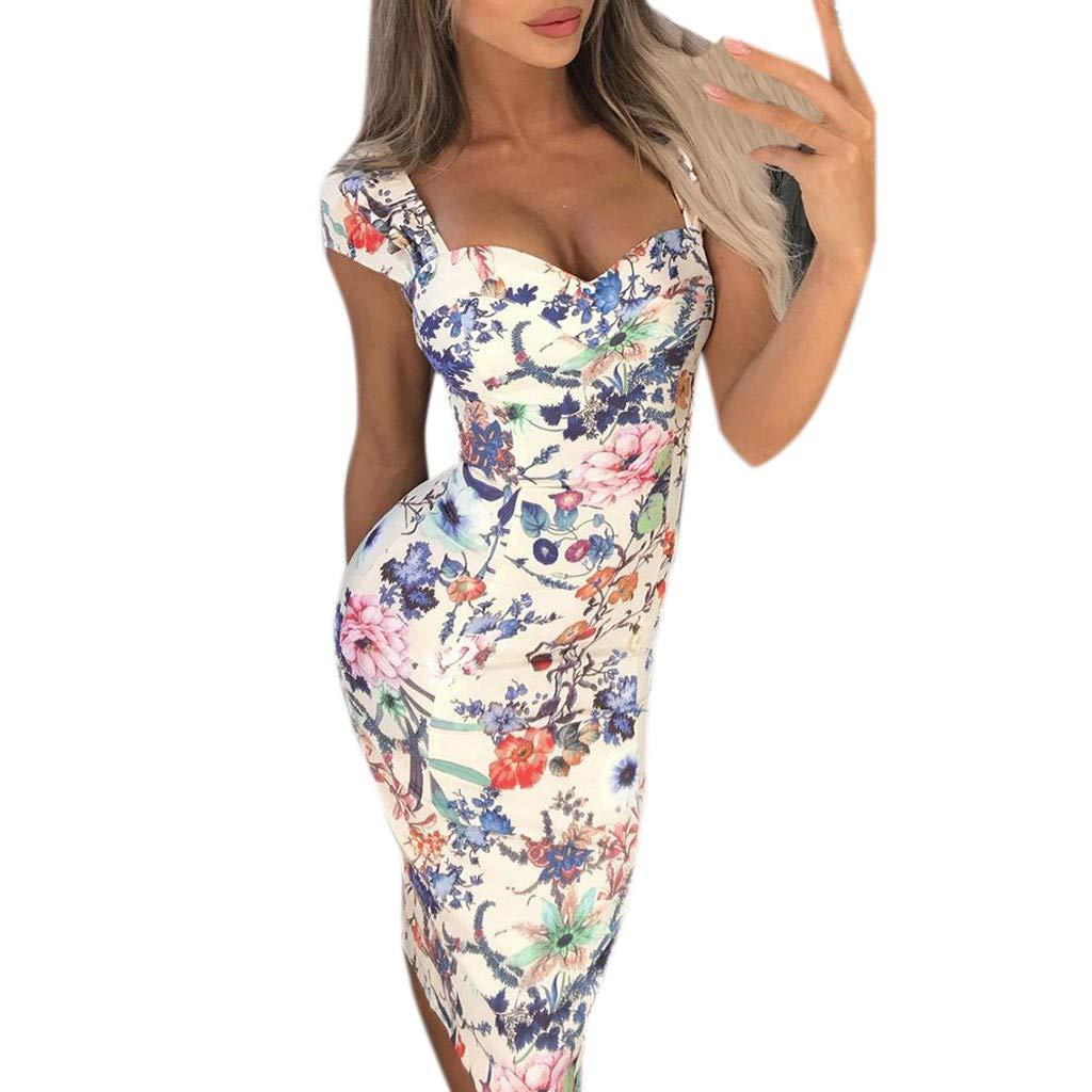 Connia Women Summer Short Sleeve Dress Casual Multicoloured Pint Ladies Holiday Straight Dress (L)
