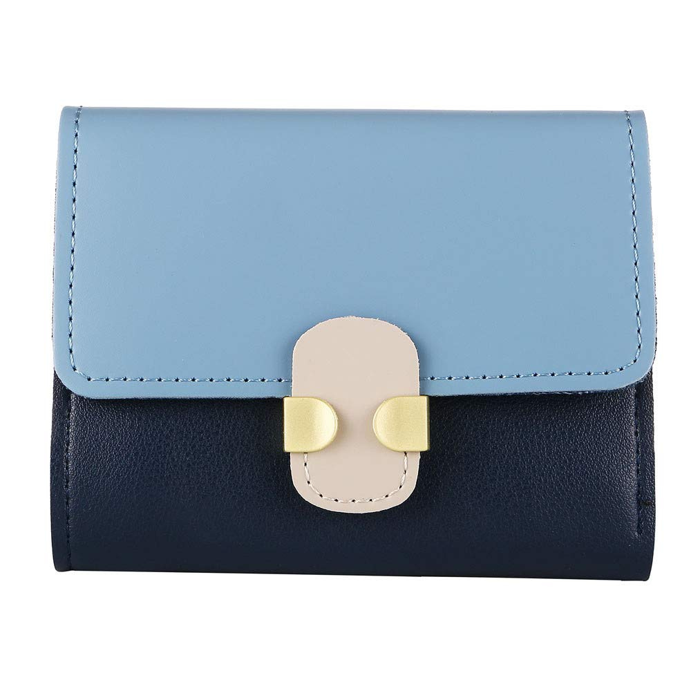 Clearance! Women Simple Elegant Wallets PU Leather Hasp Short Coin Card Holder Purse Handbag (Blue)
