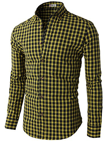 H2H Mens Various Styles Plaid Check Patterned Button Down Shirts YELLOW Asia XL (KMTSTL0320)