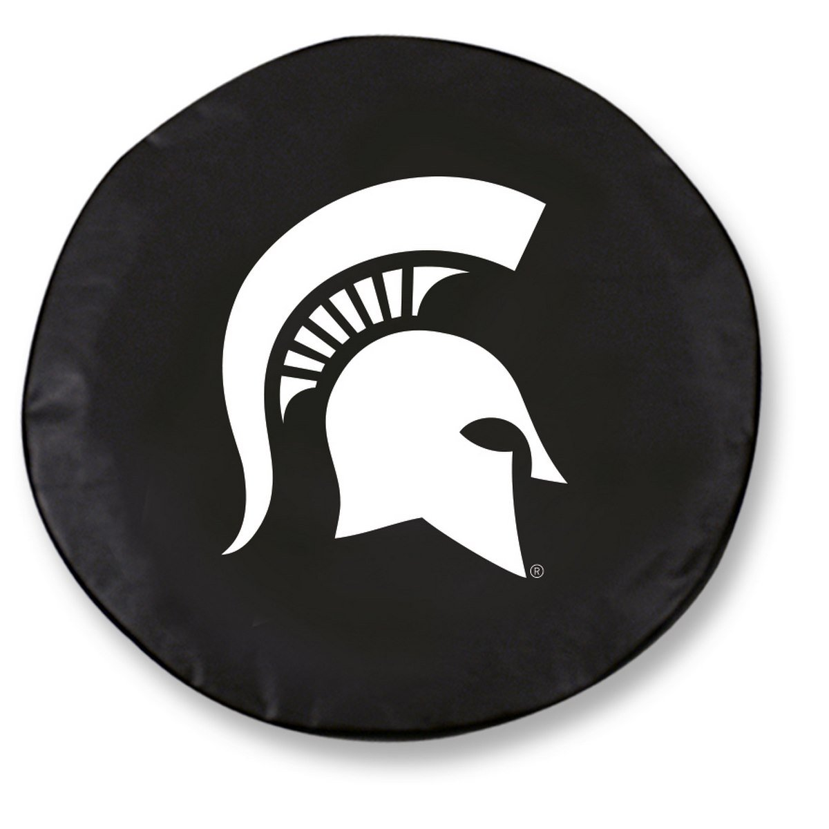 Michigan State University Tire Cover with Spartan logo on stylish Black vinyl by Covers by HBS