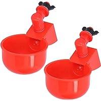 2Pcs Chicken Water Cup Plastic Leakproof Automatic Chicken Waterer Watering Cup Water Feeder Water Bowl Drinker…