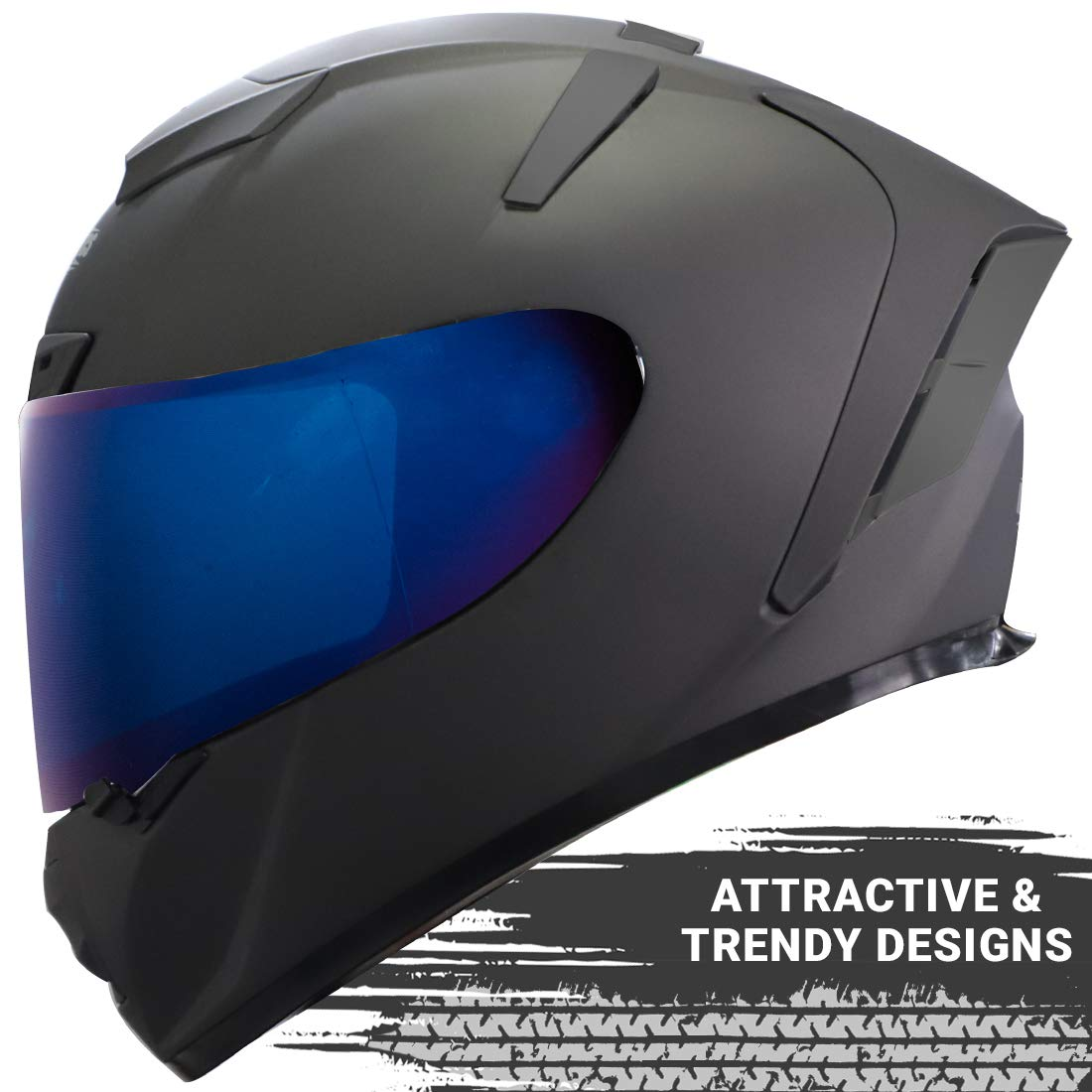 Stylish Matt Axis Grey with Blue Visor Steelbird SA-2 7Wings Helmet