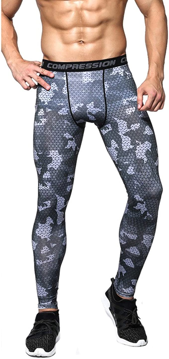 1Bests Mens Sports Tights Camouflage Basketball Running Training Compression Shorts