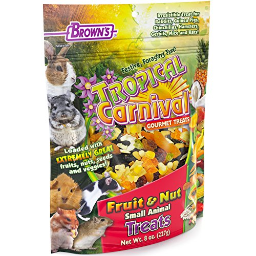 Tropical Carnival F.M. Brown's Fruit & Nut Small Animal Treat, 8-oz Bag - Real Fruits, Nuts, and Veggies for Rabbits, Hamsters, Guinea Pigs, Mice, Gerbils, and Rats -
