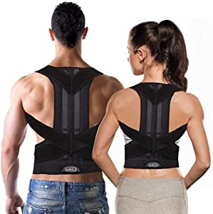 LFY Posture Corrector, Spinal Lumbar Support Back Brace With Dual Comfortable Adjustable Belt Strap, Shoulder Support For Kids, Pain Relief For Back, Shoulder And Neck For Men Women - Black shoulder s