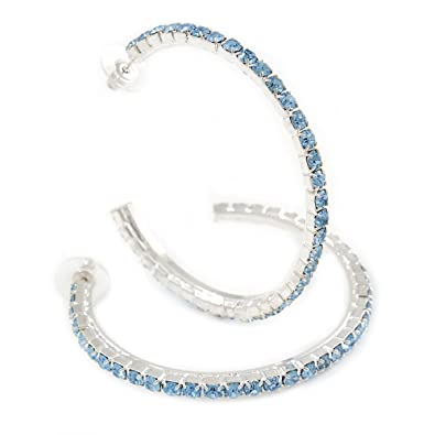 21d04ed8d9f18 Amazon.com: Large Sky Blue Austrian Crystal Hoop Earrings In Rhodium ...