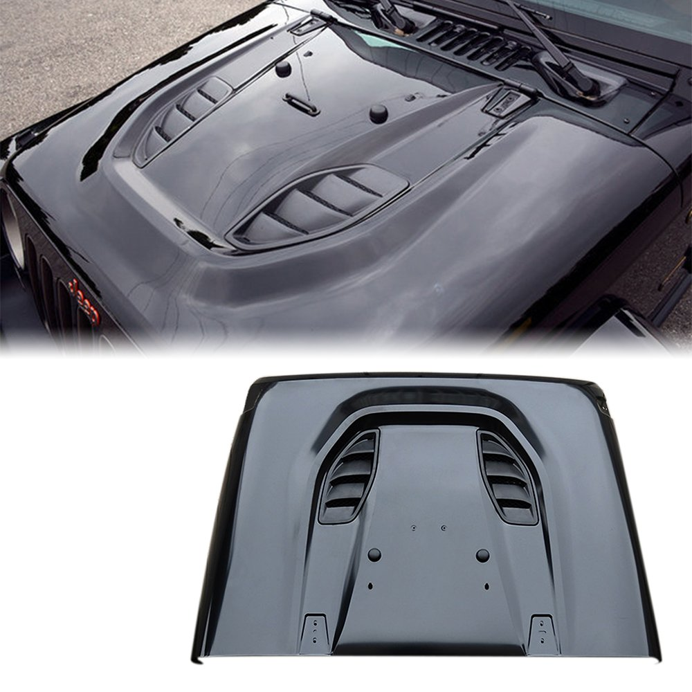 Xprite Black 10th Anniversary Hard Rock Series Power Dome Style Steel Vent Hood for 07-17 Jeep Wrangler JK JKU by Xprite