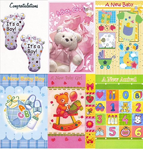 Assorted New Baby Congratulations Greeting Cards in a Bulk 12 Pack (New Baby Congratulations)