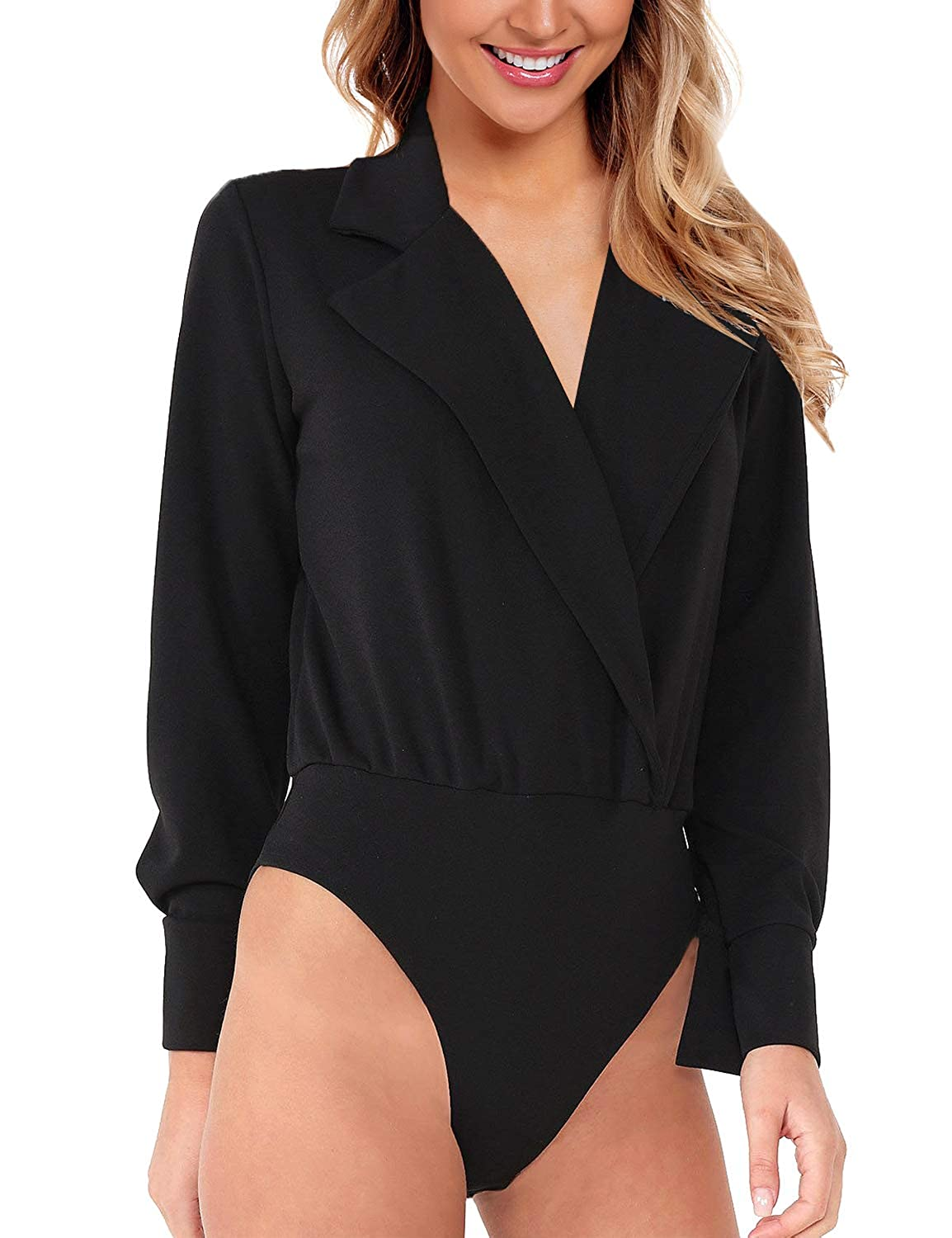 GRAPENT Womens Collar V Neck Faux Wrap Long Buttoned Sleeves Bodysuits Shirts