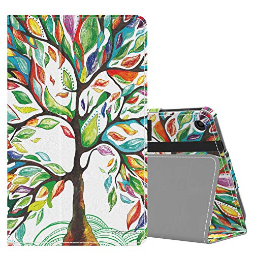 MoKo Case Fits All-New Amazon Fire 7 Tablet (9th Generation, 2019 Release), Slim Folding Stand Smart Shell Multiple Viewing Angles Cover with Auto Wake/Sleep - Lucky Tree