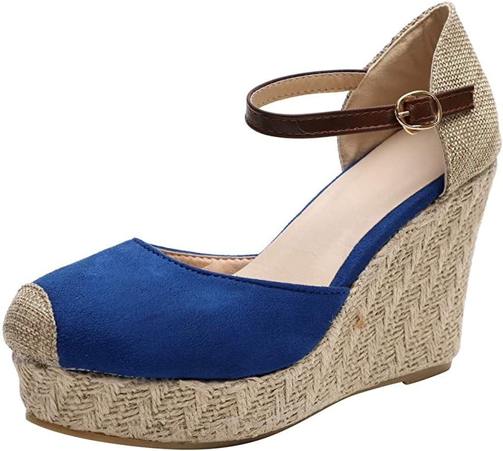 Amlaiworld Women Platform Wedge Sandals Closed Toe Mid Heel Ankle Sandals Fashion Outdoor Sandals Roma Casual Shoes