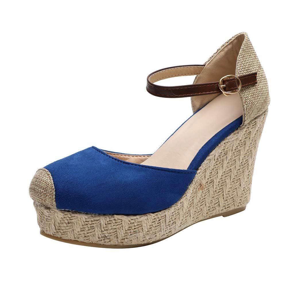 SSYongxia Women Espadrille Wedge Sandals Fashion Strap Buckle Suede Platform Shoes Closed Toe Classic Espadrilles Heel Blue