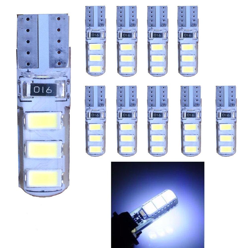 Ruecious 501W5W - Ampoules LED blanches T106-SMD 5630- LED 1681942825haute puissance pour intérieur de voiture, plaque d'immatriculation, ampoules de coffre (lot de 10)