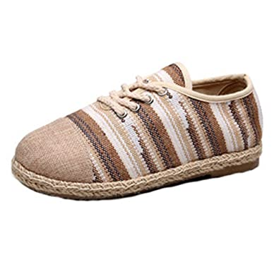 bb1f8ada293ec Amazon.com | Women's Loafers Flat Moccasin Lace UP Stripe Exotic ...