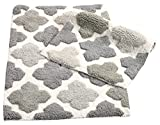 Plush Bathroom Rug Sets Chesapeake Merchandising Inc. 14452 Alloy Moroccan Tiles 2Piece Bath Rug Set - Grey