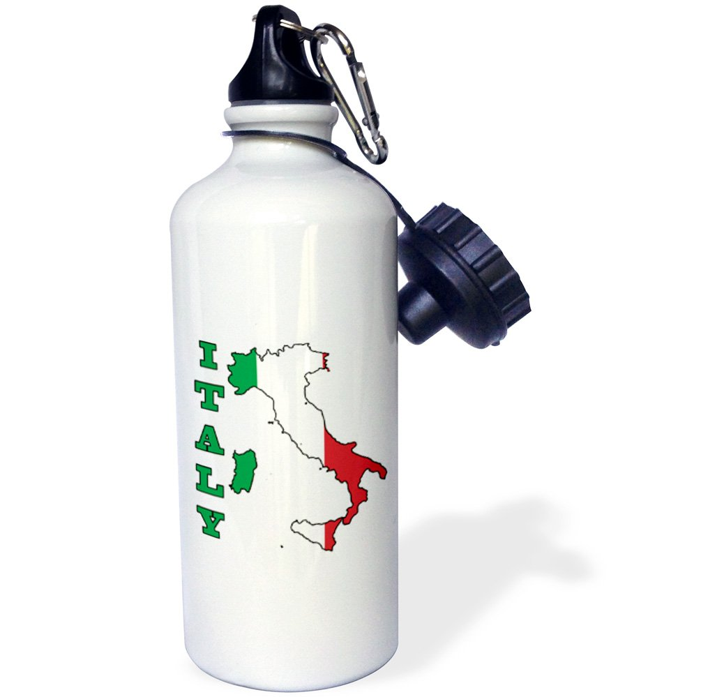 3dRose wb_63167_1 ''The flag of Italy in the outline map of the country and name, Italy'' Sports Water Bottle, 21 oz, White