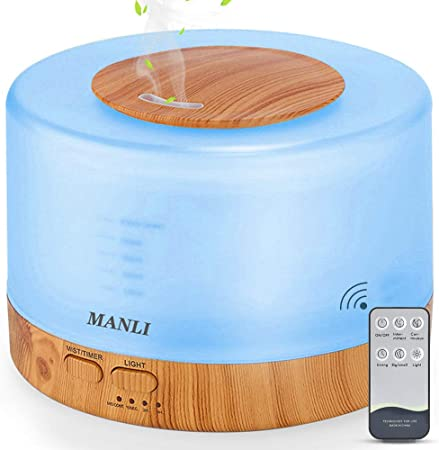 500ML Humidifier Essential Oil Diffuser Household Air Humidifier Aroma Diffuser Aromatherapy Wood Grain 7 Colors changing Remote Control 3 Timing Mode
