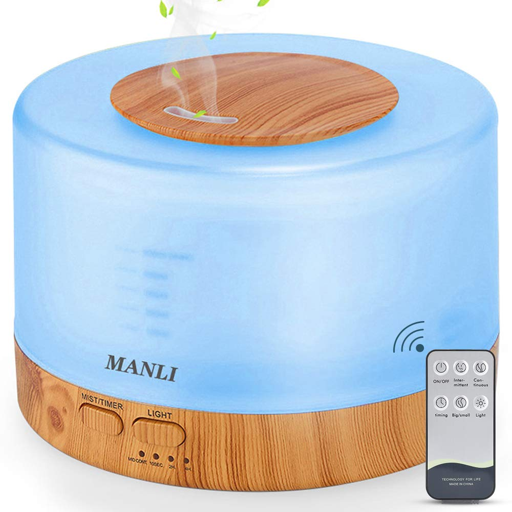 500ML Diffuser, MANLI Essential Oils Diffuser, Humidifier with Remote Control for Home Bedroom(3 Timer Modes,Waterless Auto Off, 7 Color Changing LED Lights)