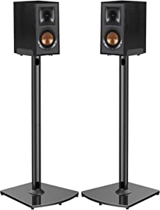 Universal Speaker Stands with Cable Management Holds Satellite & Bookshelf Speakers to 22lbs (i.e.Polk Yamaha Edifier Bose Klipsch Sony and Samsung) 33.6 Inch Surround Sound Speaker Stands - 1 Pair