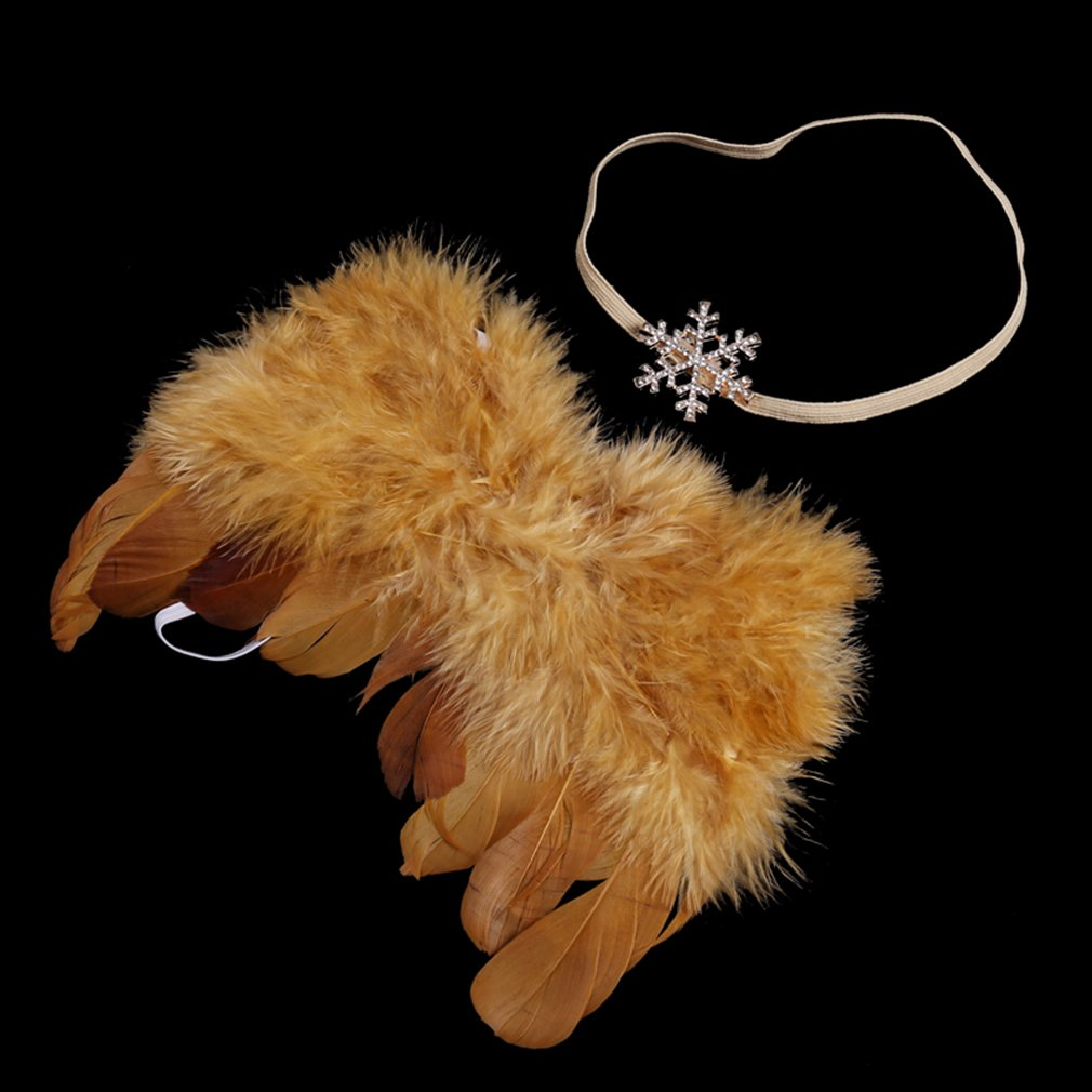 HENGSONG Foto Prop Neugeborene Baby Kostüm Engelsflügel Feder Flügel mit Stirnband Fotografie Kostüm (Gold) mei_mei9 ME6966