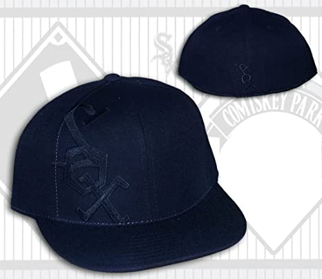 0a512e44fc7 Image Unavailable. Image not available for. Color  Chicago White Sox All  Black Side Logo Fitted Hat ...