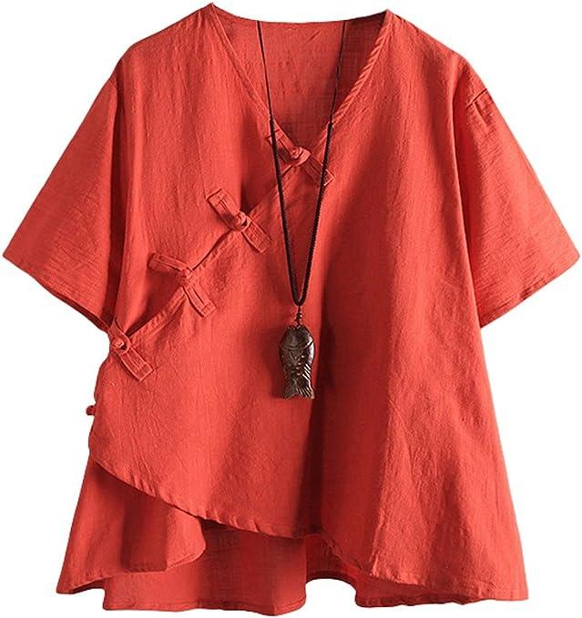 TALLA XXL. MatchLife – Camiseta clásica de lino para mujer, cuello en V