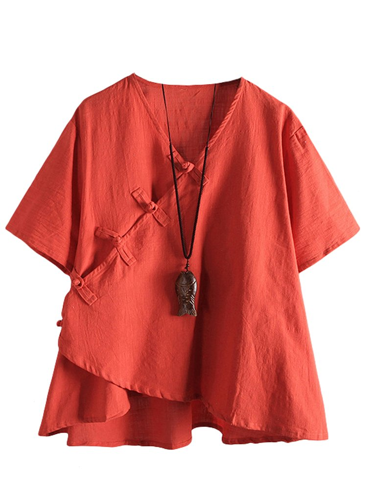 Minibee Women's Linen Retro Chinese Frog Button Tops Blouse Orange 2XL
