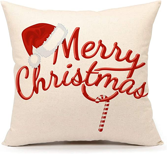 4th Emotion Red Merry Christmas Pillow Cover Decorative Throw Cushion Case Home Decor 18 X 18 Inch Cotton Linen For Sofa Home Kitchen