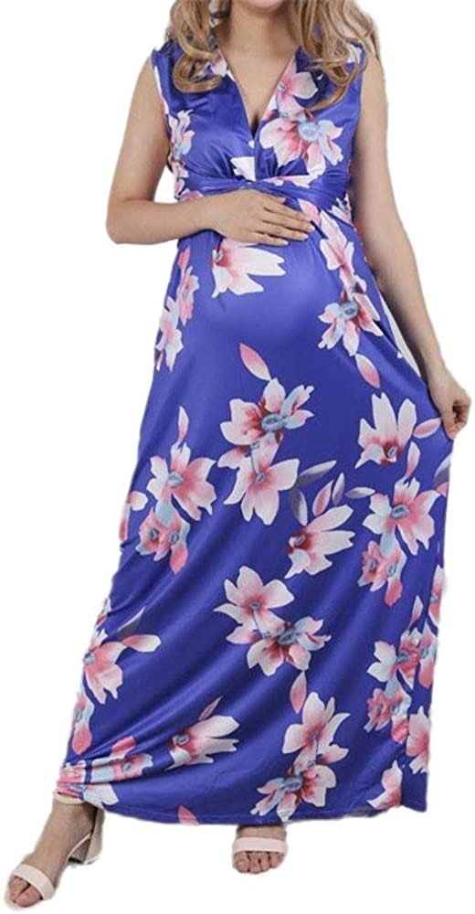 Xcfypiao Plus Size Dress,Womens Spring and Summer V-Neck Maternity Dress Sleeveless Print Long Section