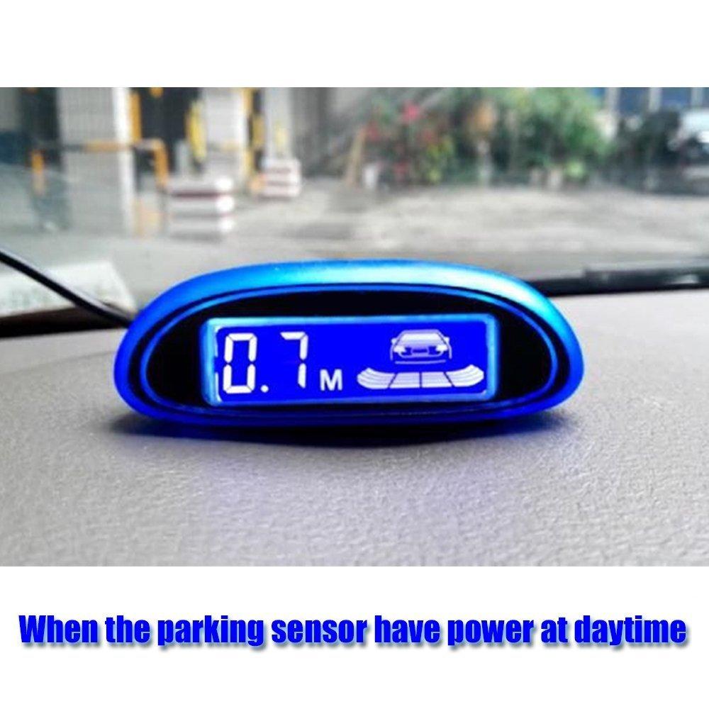 Tuqiang/® Einparkhilfe R/ückfahrwarner mit blauem LED Bildschirm Parksensoren Parkassistent mit 4 Sensoren Grau