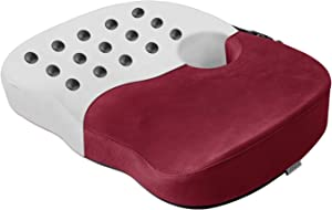 LARROUS Memory Foam Magneto Therapy Donut Seat Cushion for Office Chair,Promotes Blood Circulation,Hip/Tailbone/Coccyx/Lower Back Pain Relief Butt Pillows for Sitting.(Wine Burgundy)