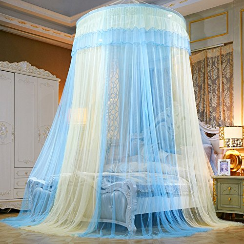 European palace wind dome bed canopy mosquito net, Home Princess Palace Double Encryption Floor-mounted mosquito curtain-B Full-size by DE&QW