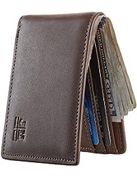 Mens Slim Minimalist Front Pocket Wallet Genuine Leather ID Window Card Case RFID Blocking