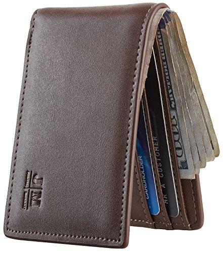 Joymon Mens Slim Minimalist Front Pocket Wallet SYNETHIC LEATHER ID Window Card Case RFID Blocking (napa coffee) (Front Slot Pocket)