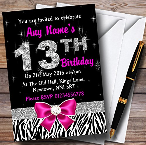 Pink Diamond And Zebra Print 13Th Birthday Party Personalized Invitations (Pink Zebra Diamond)