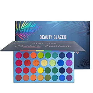 Beauty Glazed Rainbow Eyeshadow Palette - Professional 39 Color Makeup Matte Metallic Shimmer Eye Shadow Palettes - Ultra Pigmented Powder Bright Vibrant Colors Shades Cosmetics Set for Halloween