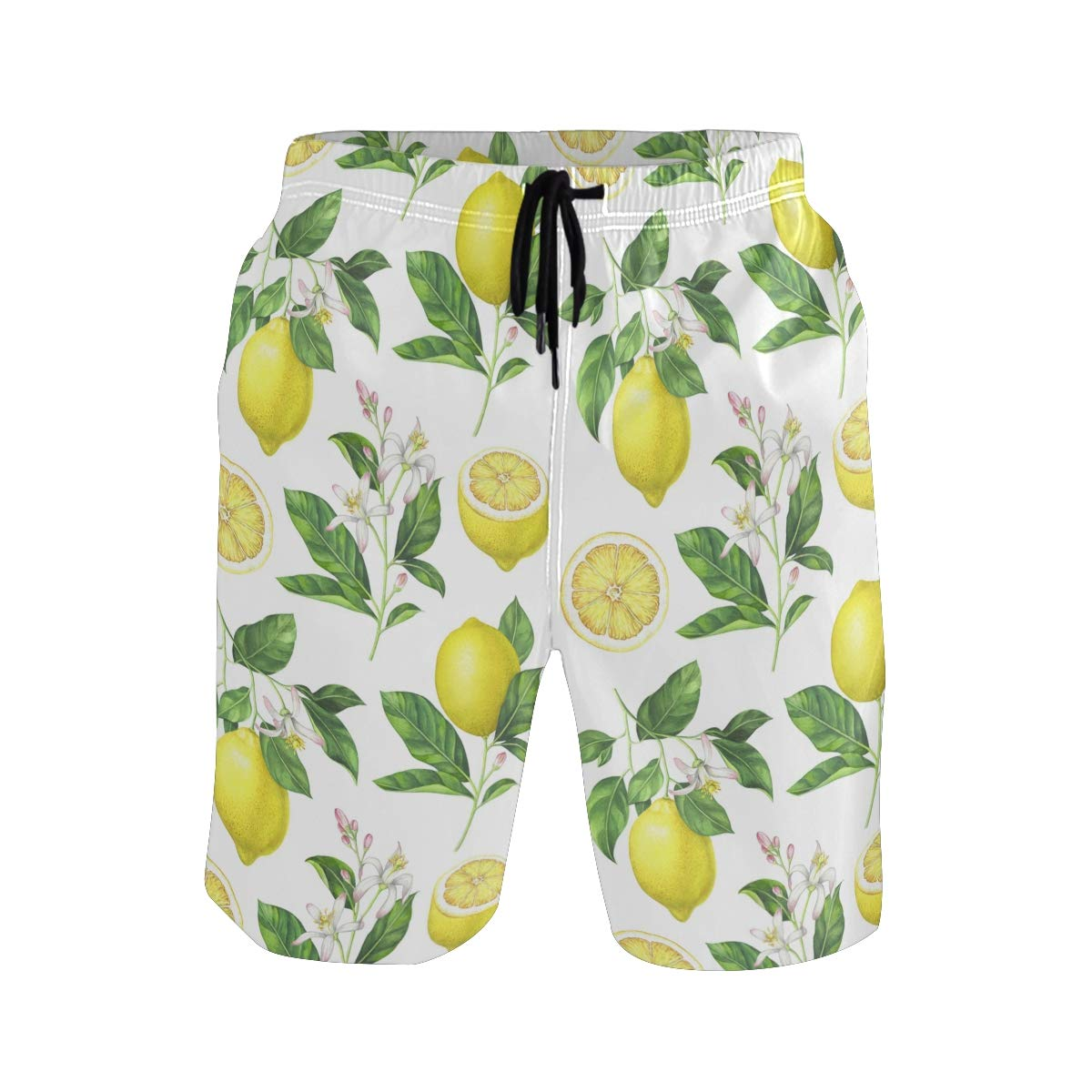 JERECY Mens Swim Trunks Watercolor Lemon Floral Pattern Quick Dry Board Shorts with Drawstring and Pockets