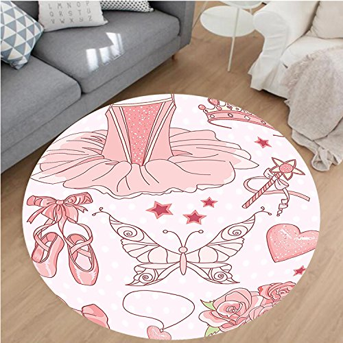 Nalahome Modern Flannel Microfiber Non-Slip Machine Washable Round Area Rug-et of Princess Ballerina Accessories Classic Costume Shoes Tiara Roses Image Pattern Pink area rugs Home Decor-Round 28
