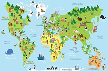 Amazon cartoon world map children animals monuments educational cartoon world map children animals monuments educational mural giant poster 18x12 inch gumiabroncs Image collections