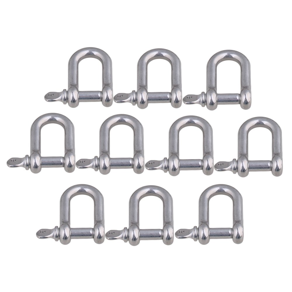 CNBTR M6 Silver 304 Stainless Steel European Style Chain D-Ring Shackle Hardware Rigging Set of 10