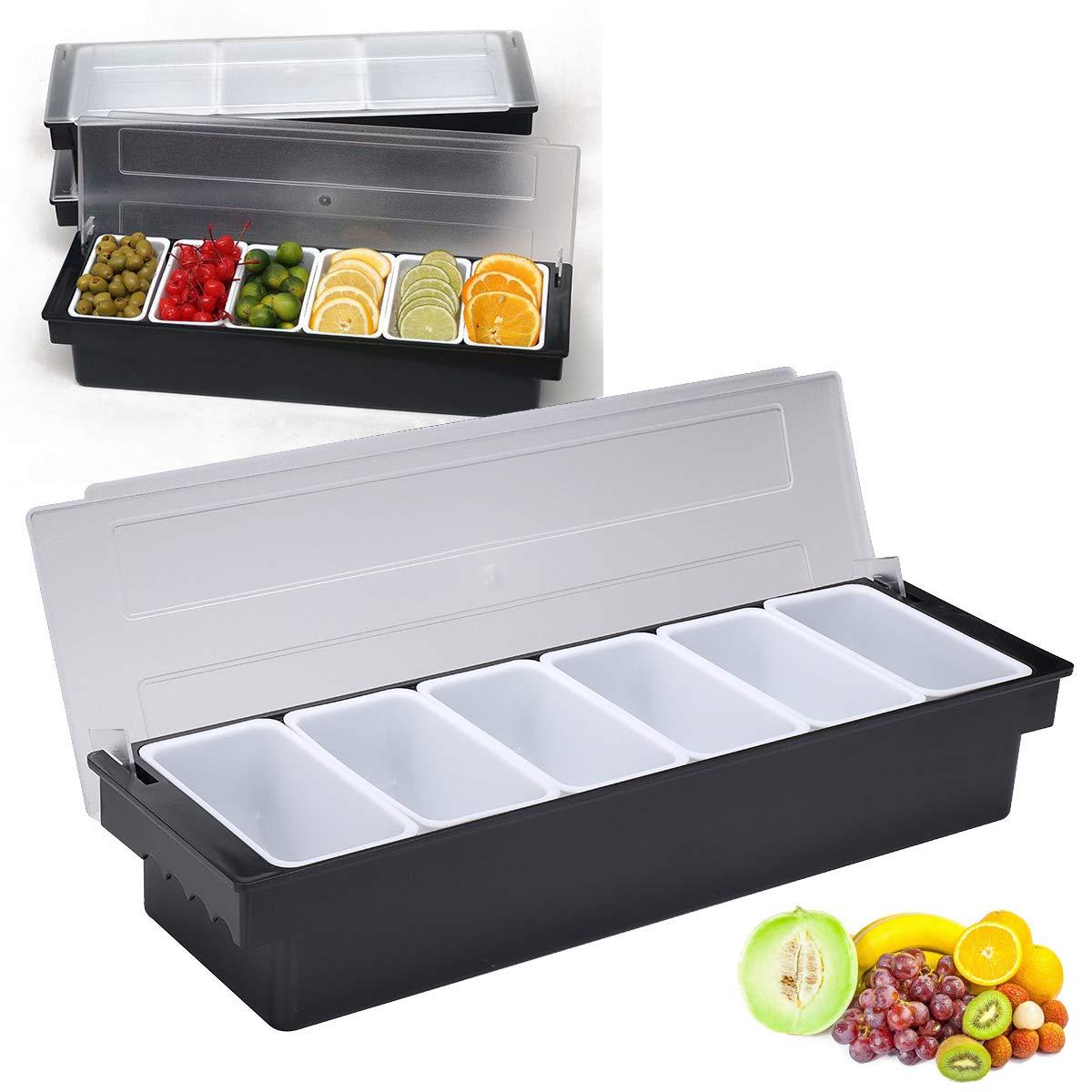 Tanchen 6 Compartment Divided Fruit Food Storage Case Box Kitchen Storage Container Garnish Crisper