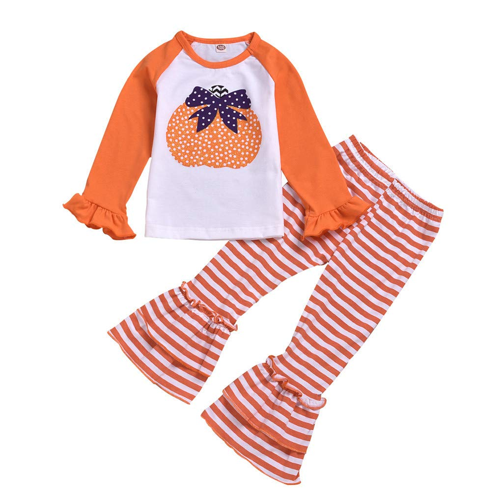 Beyonds Halloween Costumes for Girls Kids Baby, Halloween Pumpkin Long Sleeve Tops+Striped Bell-Bottoms Pants Outfits Romper Set, Halloween Decor Party Decorations Costume Clothes by Beyonds